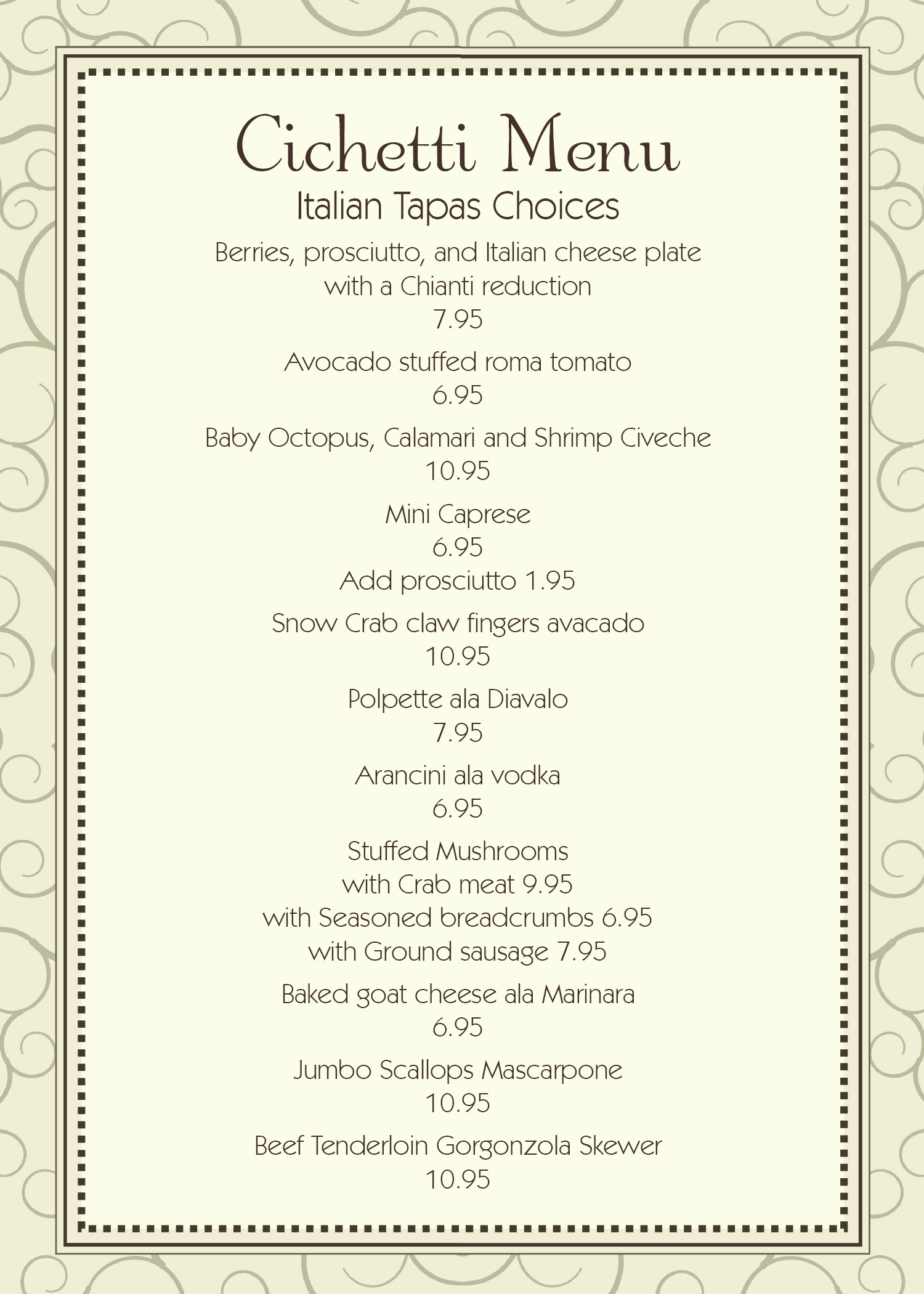 italian drinks menu